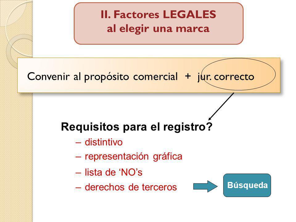 Convenir al propósito comercial + jur. correcto Requisitos para el registro? –distintivo –representación gráfica –lista de NOs –derechos de terceros B