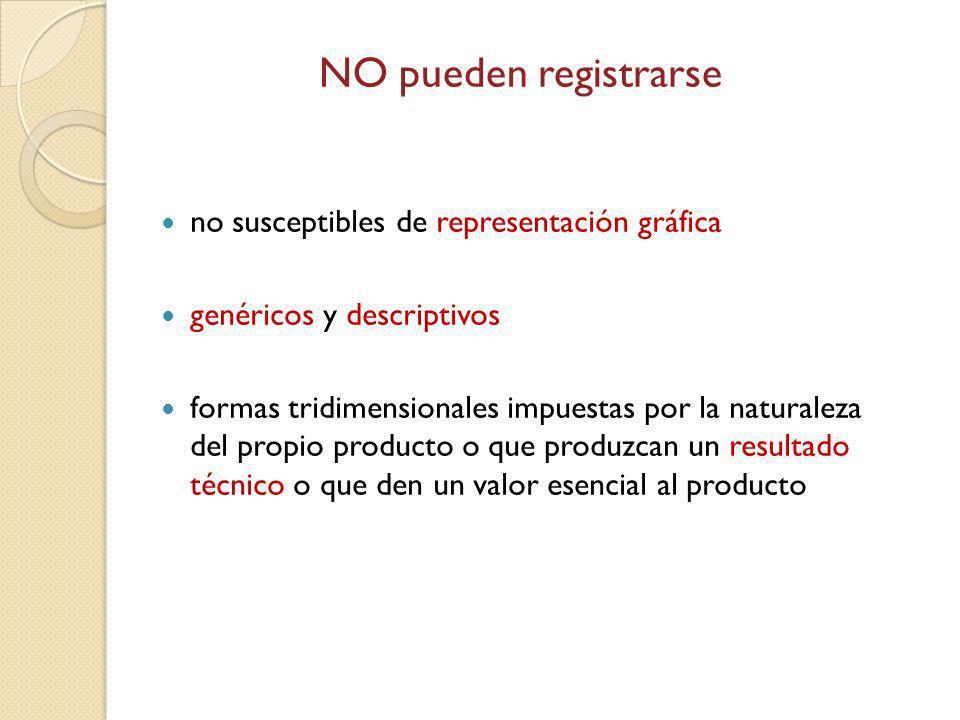 NO pueden registrarse no susceptibles de representación gráfica genéricos y descriptivos formas tridimensionales impuestas por la naturaleza del propi
