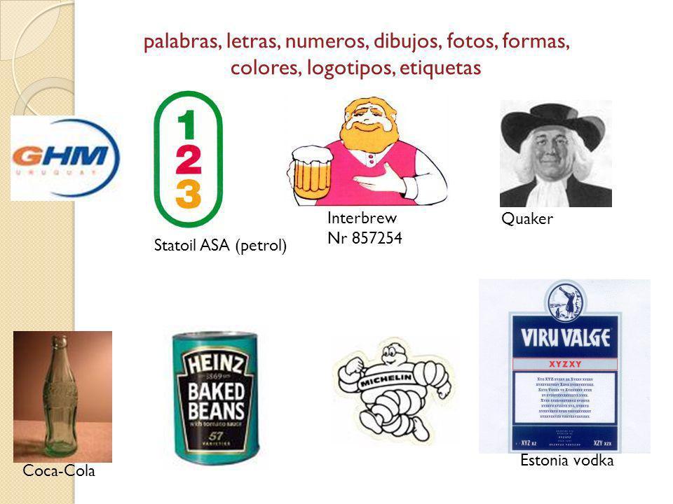 palabras, letras, numeros, dibujos, fotos, formas, colores, logotipos, etiquetas Quaker Interbrew Nr 857254 Statoil ASA (petrol) Estonia vodka Coca-Co