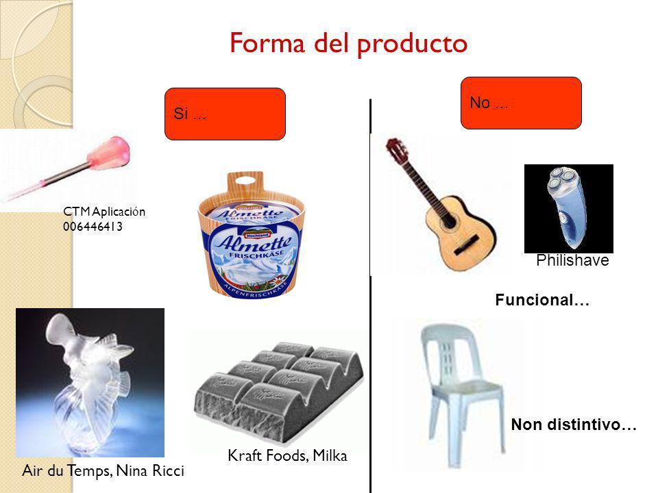 Si... No... Funcional… Non distintivo… CTM Aplicaci ó n 006446413 Air du Temps, Nina Ricci Kraft Foods, Milka Philishave