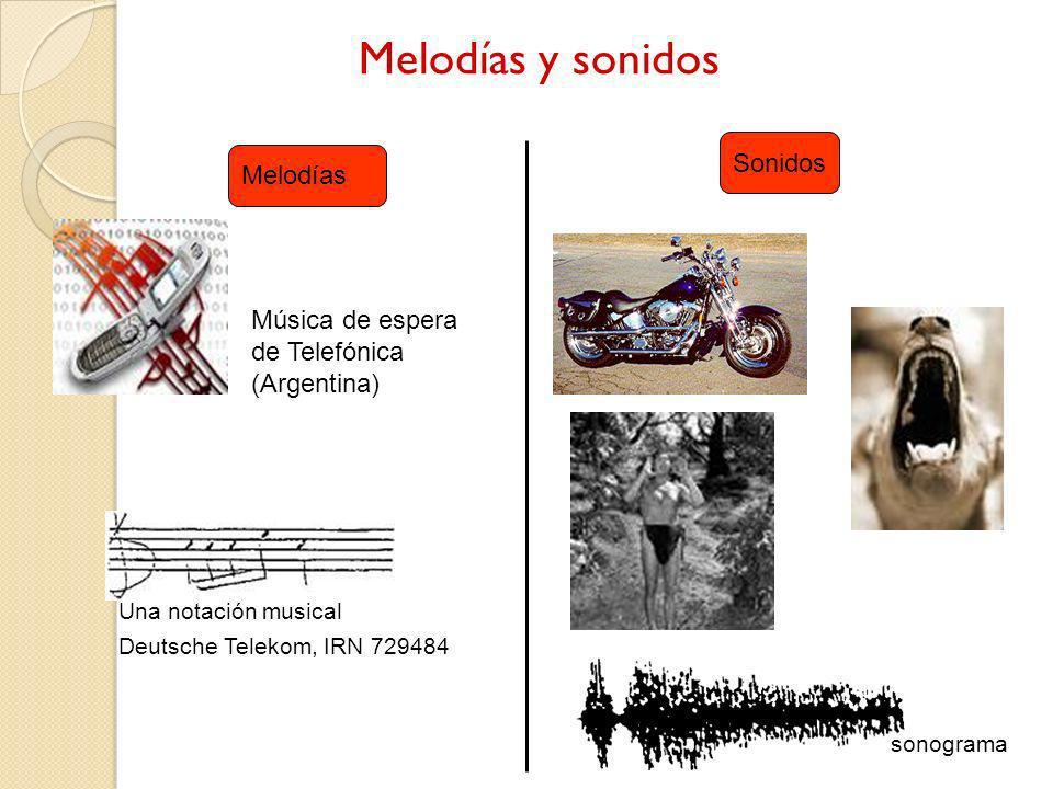 Melodías y sonidos Melodías Sonidos Música de espera de Telefónica (Argentina) Una notación musical Deutsche Telekom, IRN 729484 sonograma