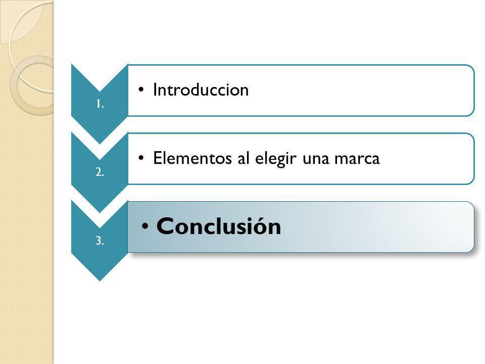 1. Introduccion 2. Elementos al elegir una marca 3. Conclusión
