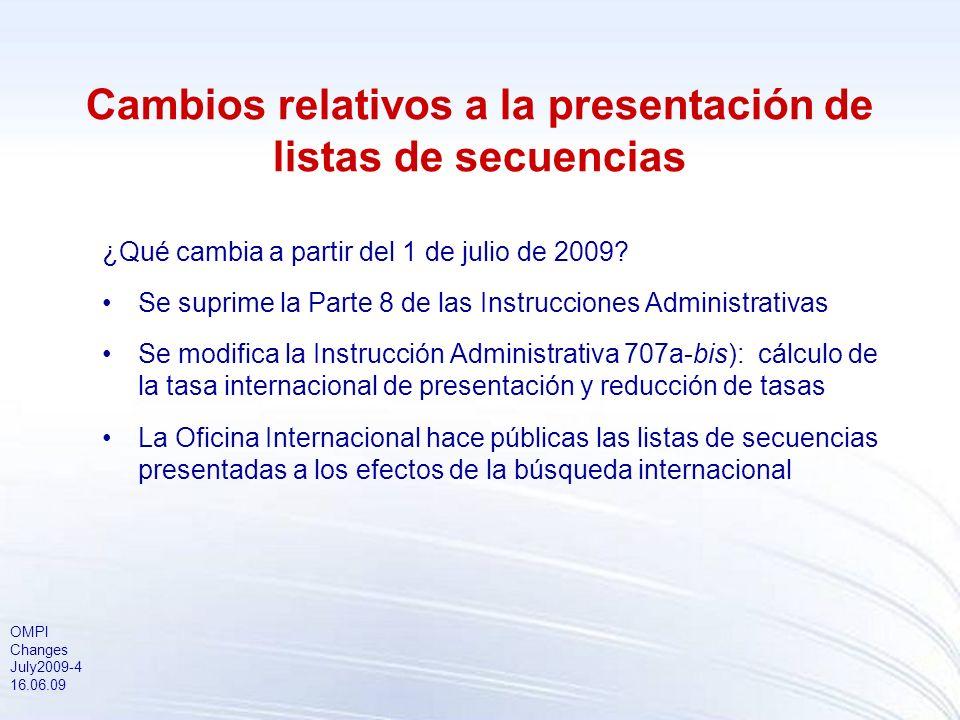OMPI Changes July2009-4 16.06.09 Cambios relativos a la presentación de listas de secuencias ¿Qué cambia a partir del 1 de julio de 2009.