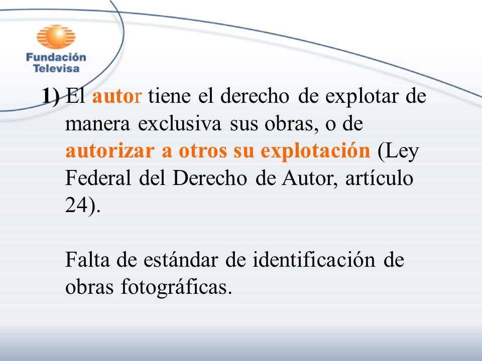 1) El autor tiene el derecho de explotar de manera exclusiva sus obras, o de autorizar a otros su explotación (Ley Federal del Derecho de Autor, artíc