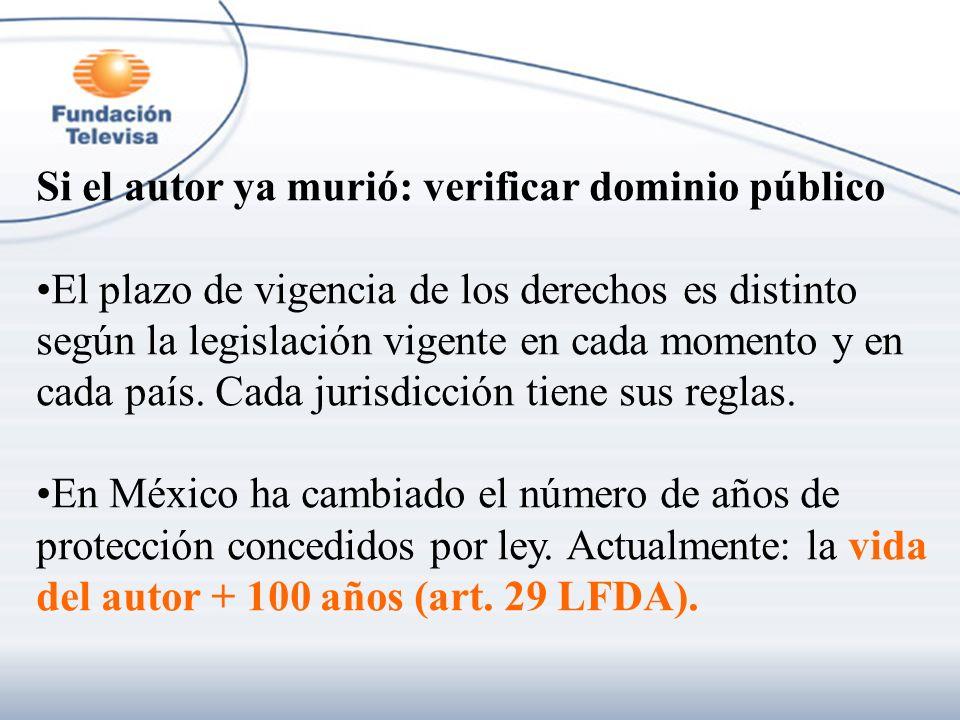 Si el autor ya murió: verificar dominio público El plazo de vigencia de los derechos es distinto según la legislación vigente en cada momento y en cad