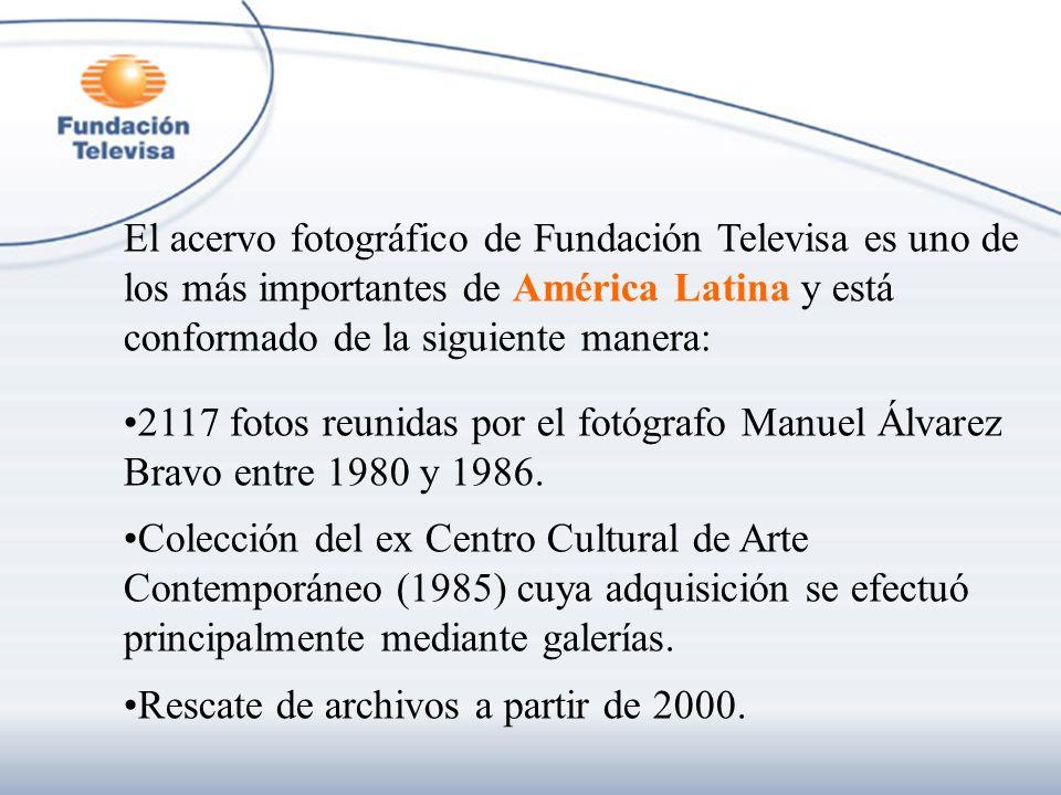El acervo fotográfico de Fundación Televisa es uno de los más importantes de América Latina y está conformado de la siguiente manera: 2117 fotos reuni