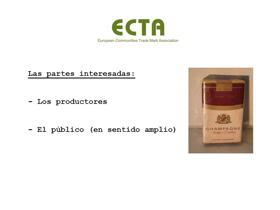 Las partes interesadas: - Los productores - El público (en sentido amplio)