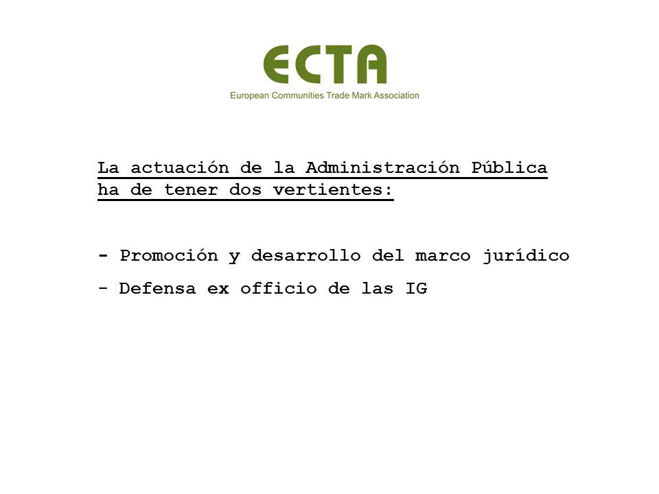 La actuación de la Administración Pública ha de tener dos vertientes: - Promoción y desarrollo del marco jurídico - Defensa ex officio de las IG