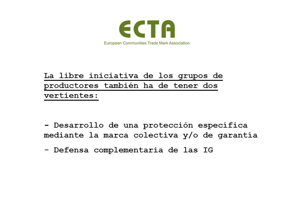 La libre iniciativa de los grupos de productores también ha de tener dos vertientes: - Desarrollo de una protección específica mediante la marca colectiva y/o de garantía - Defensa complementaria de las IG