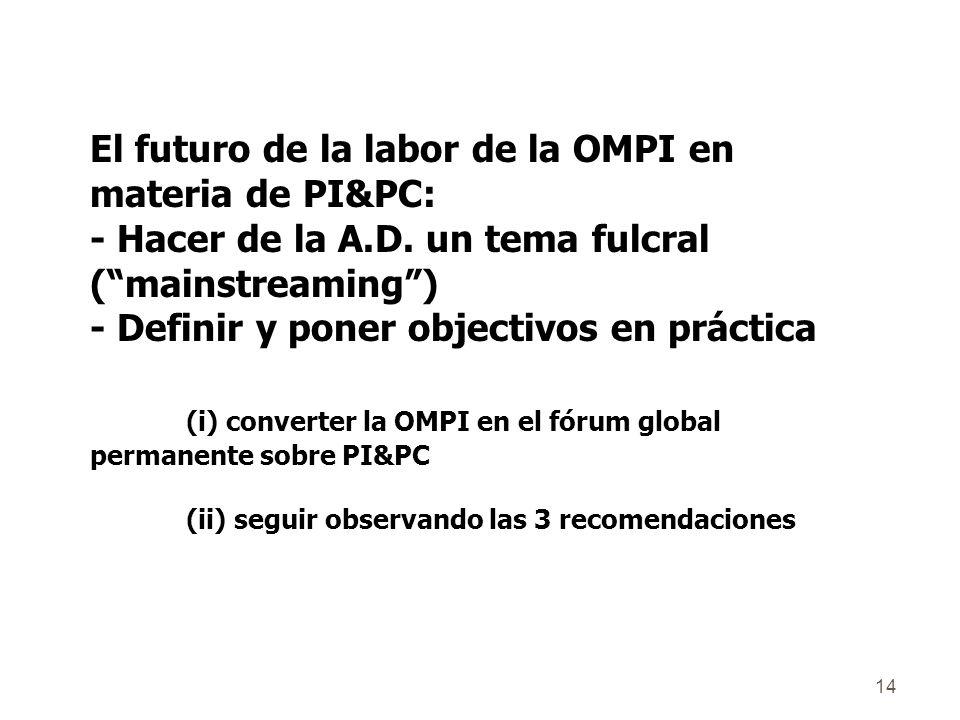 14 El futuro de la labor de la OMPI en materia de PI&PC: - Hacer de la A.D.