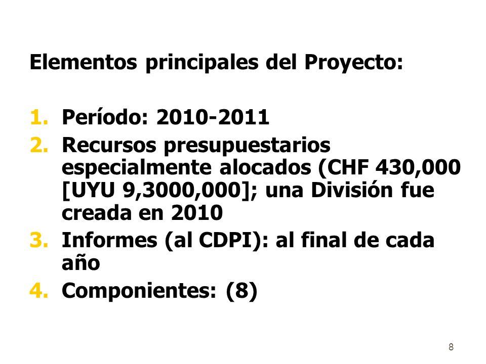8 Elementos principales del Proyecto: 1.Período: 2010-2011 2.Recursos presupuestarios especialmente alocados (CHF 430,000 [UYU 9,3000,000]; una División fue creada en 2010 3.Informes (al CDPI): al final de cada año 4.Componientes: (8)