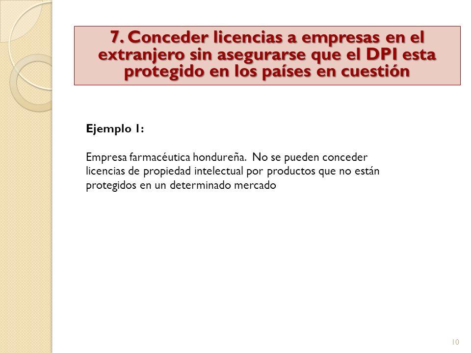 10 7. Conceder licencias a empresas en el extranjero sin asegurarse que el DPI esta protegido en los países en cuestión Ejemplo 1: Empresa farmacéutic