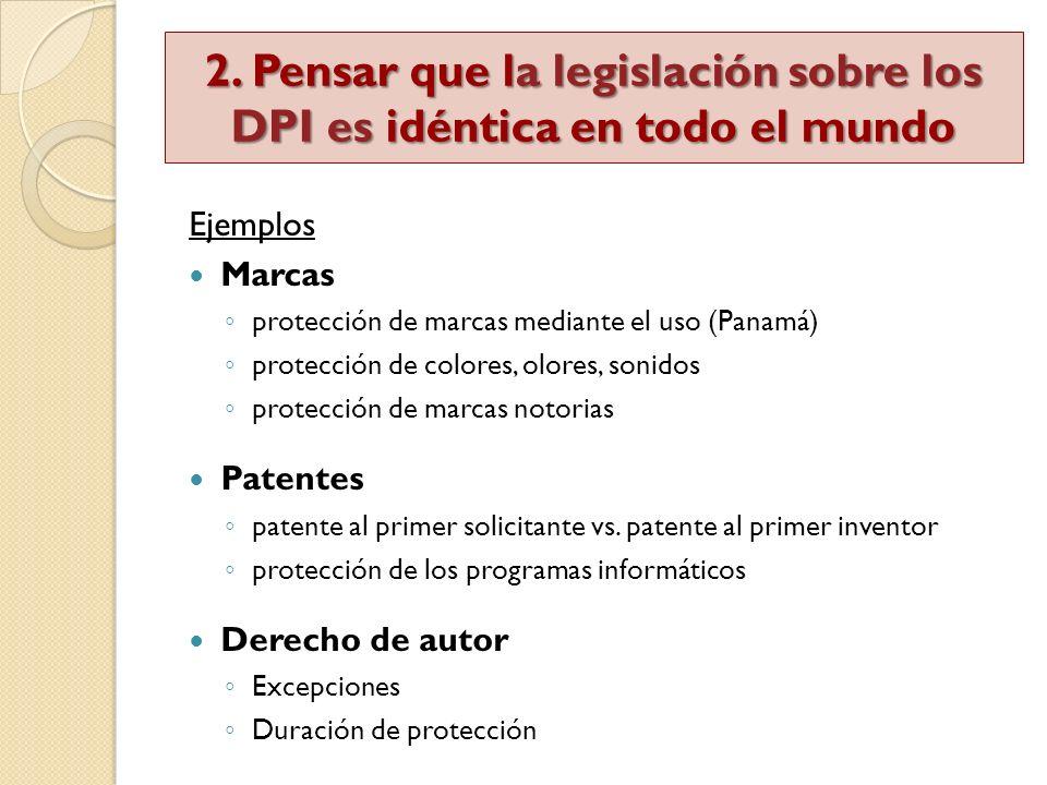 Ejemplos Marcas protección de marcas mediante el uso (Panamá) protección de colores, olores, sonidos protección de marcas notorias Patentes patente al