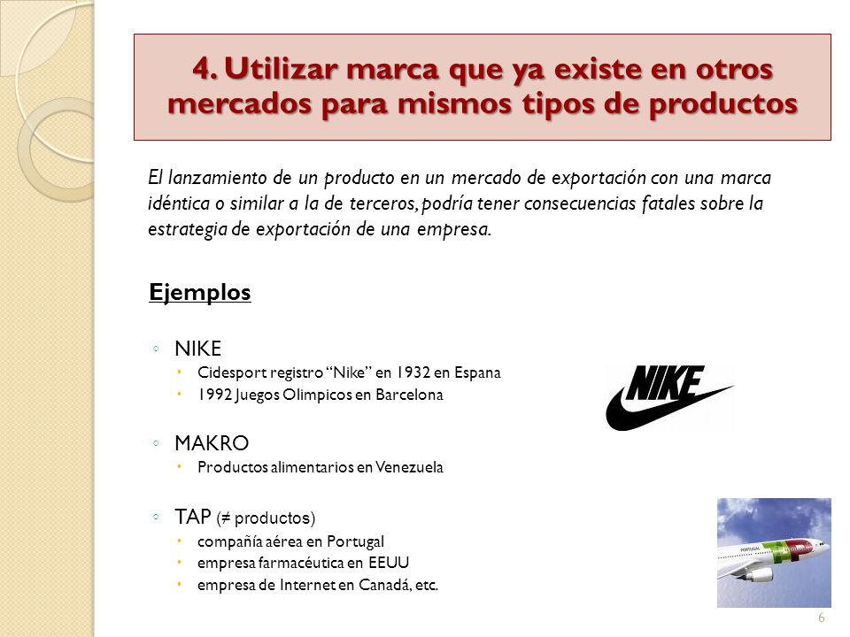 6 Ejemplos NIKE Cidesport registro Nike en 1932 en Espana 1992 Juegos Olimpicos en Barcelona MAKRO Productos alimentarios en Venezuela TAP ( productos