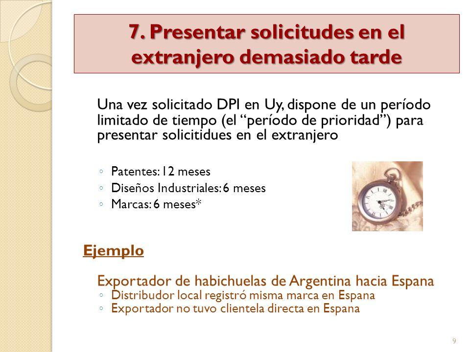 9 Una vez solicitado DPI en Uy, dispone de un período limitado de tiempo (el período de prioridad) para presentar solicitidues en el extranjero Patent