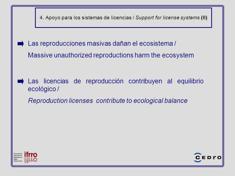 4. Apoyo para los sistemas de licencias / Support for license systems (II) Las reproducciones masivas dañan el ecosistema / Massive unauthorized repro