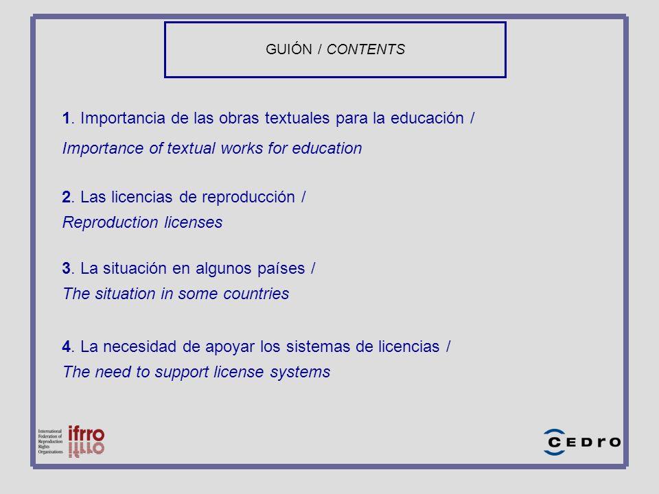GUIÓN / CONTENTS 1. Importancia de las obras textuales para la educación / Importance of textual works for education 2. Las licencias de reproducción