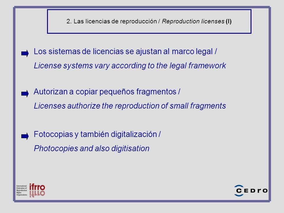 2. Las licencias de reproducción / Reproduction licenses (I) Los sistemas de licencias se ajustan al marco legal / License systems vary according to t