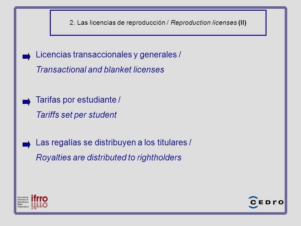 2. Las licencias de reproducción / Reproduction licenses (II) Licencias transaccionales y generales / Transactional and blanket licenses Tarifas por e