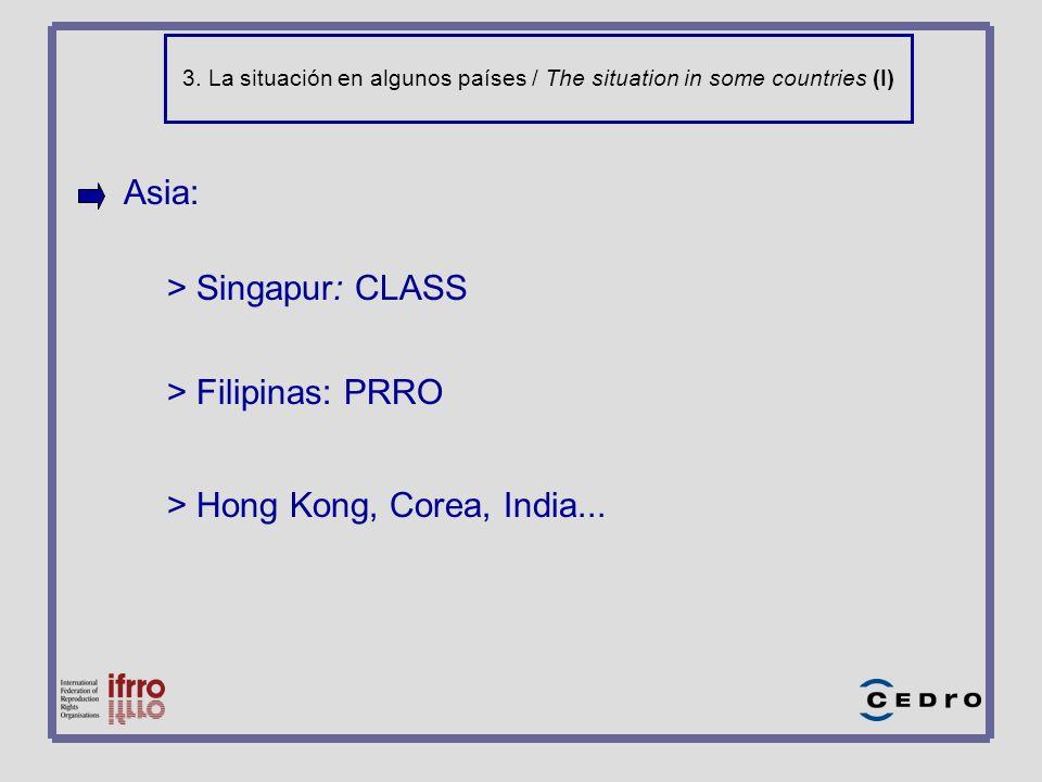 3. La situación en algunos países / The situation in some countries (I) Asia: > Singapur: CLASS > Filipinas: PRRO > Hong Kong, Corea, India...