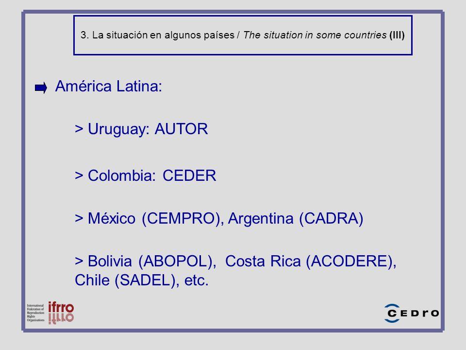 3. La situación en algunos países / The situation in some countries (III) América Latina: > Uruguay: AUTOR > Colombia: CEDER > México (CEMPRO), Argent