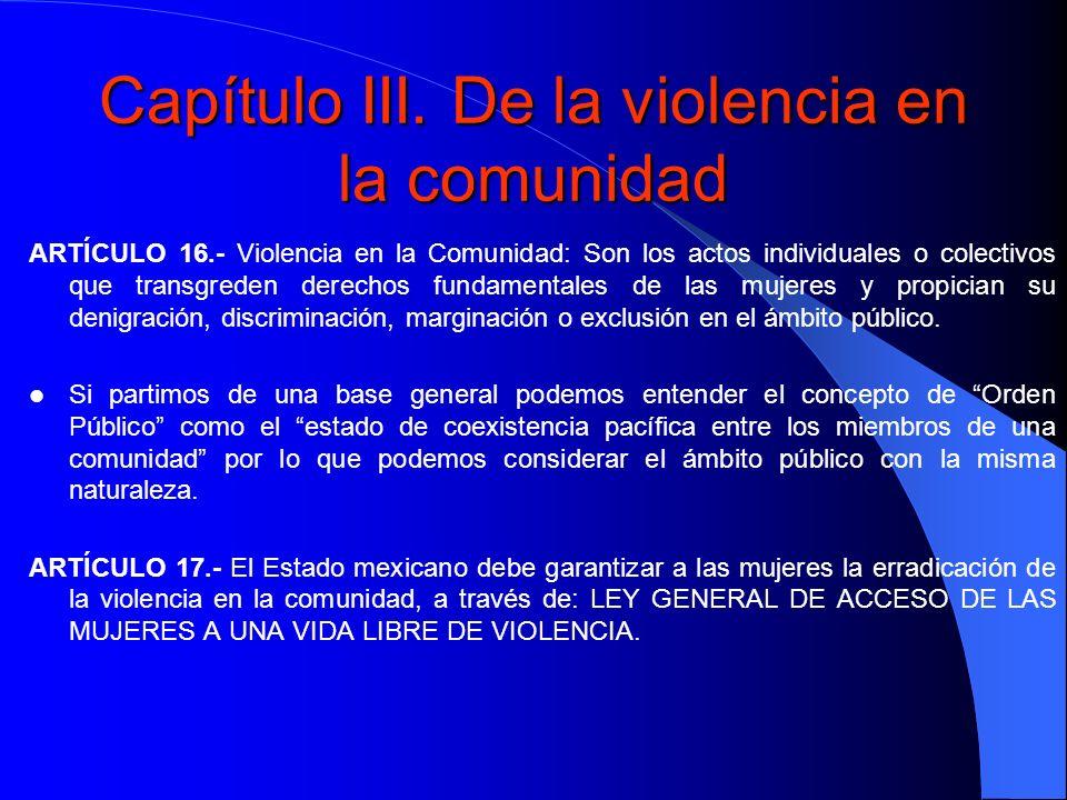 Capítulo III. De la violencia en la comunidad ARTÍCULO 16.- Violencia en la Comunidad: Son los actos individuales o colectivos que transgreden derecho