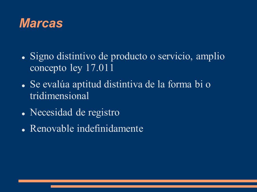 Marcas Signo distintivo de producto o servicio, amplio concepto ley 17.011 Se evalúa aptitud distintiva de la forma bi o tridimensional Necesidad de r