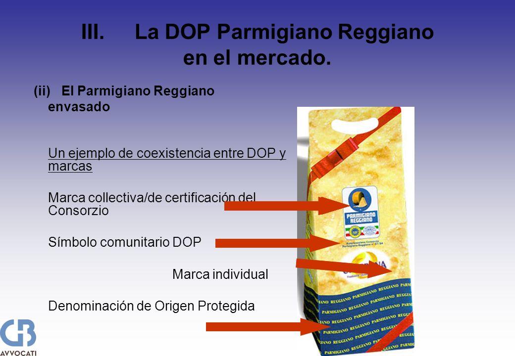III. La DOP Parmigiano Reggiano en el mercado. (ii)El Parmigiano Reggiano envasado Un ejemplo de coexistencia entre DOP y marcas Marca collectiva/de c