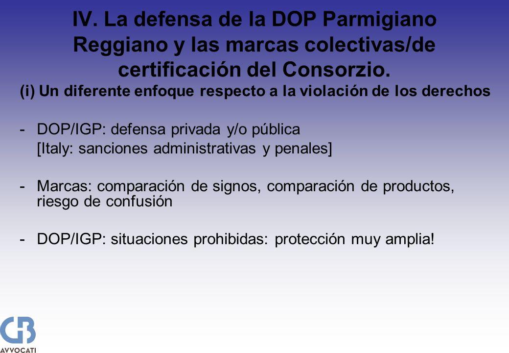 IV. La defensa de la DOP Parmigiano Reggiano y las marcas colectivas/de certificación del Consorzio. (i) Un diferente enfoque respecto a la violación