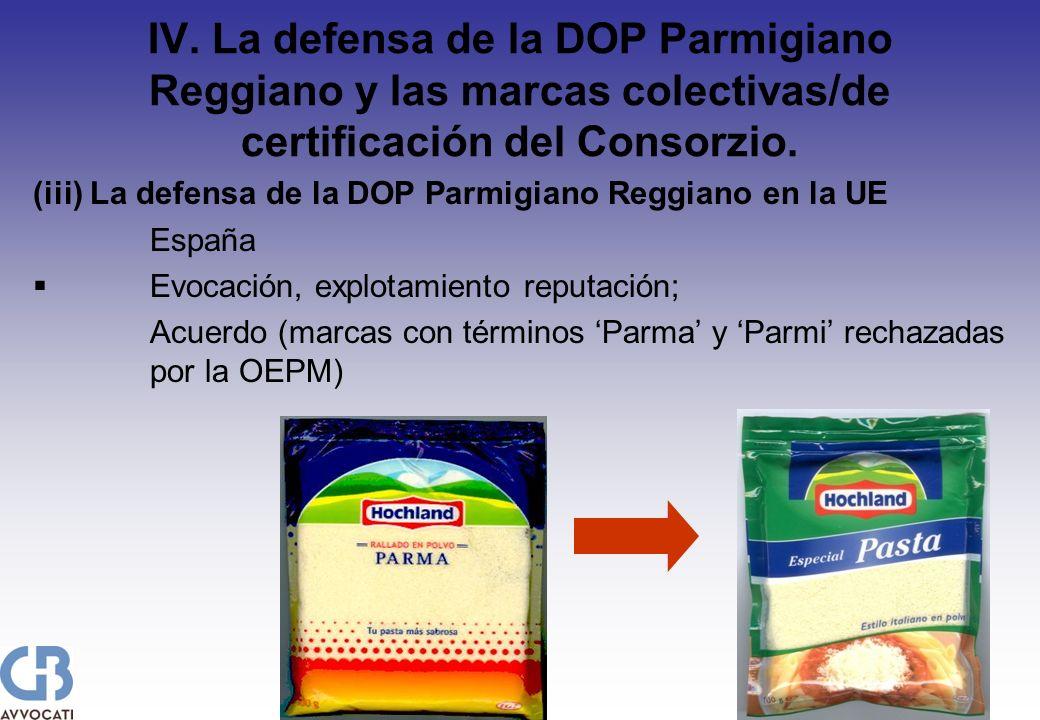 IV. La defensa de la DOP Parmigiano Reggiano y las marcas colectivas/de certificación del Consorzio. (iii) La defensa de la DOP Parmigiano Reggiano en