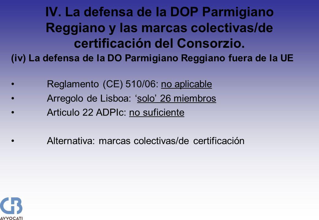 IV. La defensa de la DOP Parmigiano Reggiano y las marcas colectivas/de certificación del Consorzio. (iv) La defensa de la DO Parmigiano Reggiano fuer