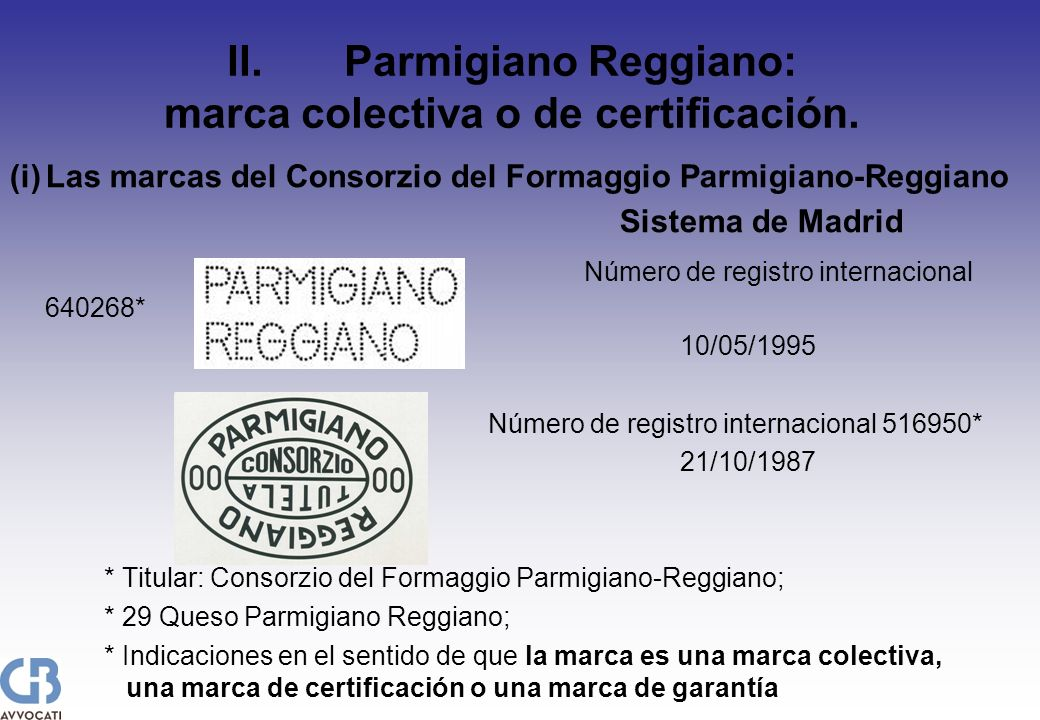 II.Parmigiano Reggiano: marca colectiva o de certificación. (i)Las marcas del Consorzio del Formaggio Parmigiano-Reggiano Sistema de Madrid Número de
