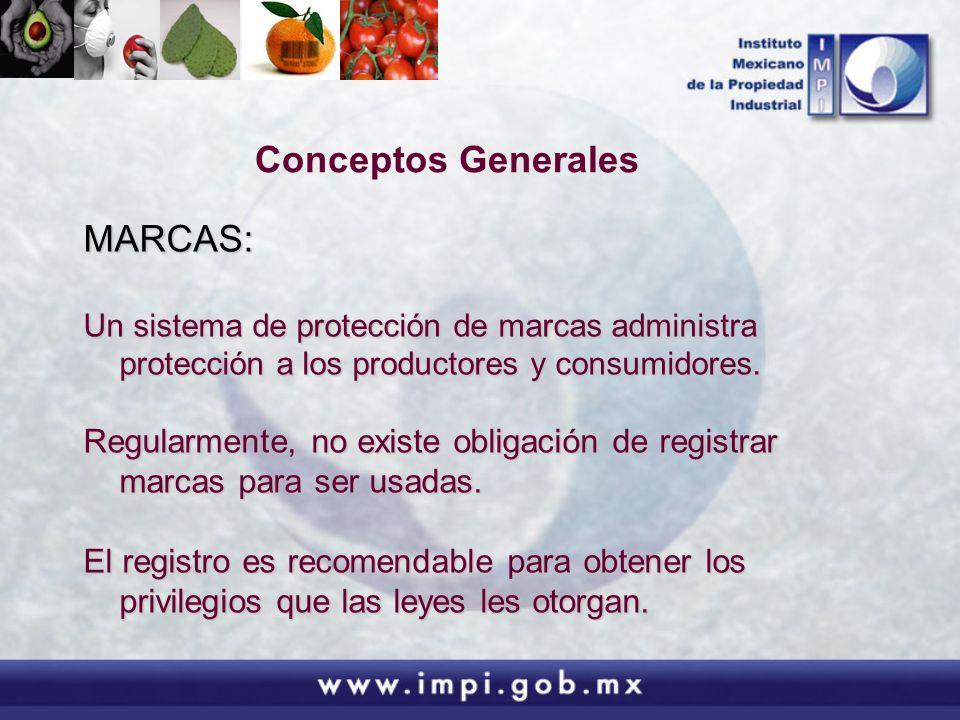 Conceptos Generales MARCAS: Un sistema de protección de marcas administra protección a los productores y consumidores. Regularmente, no existe obligac