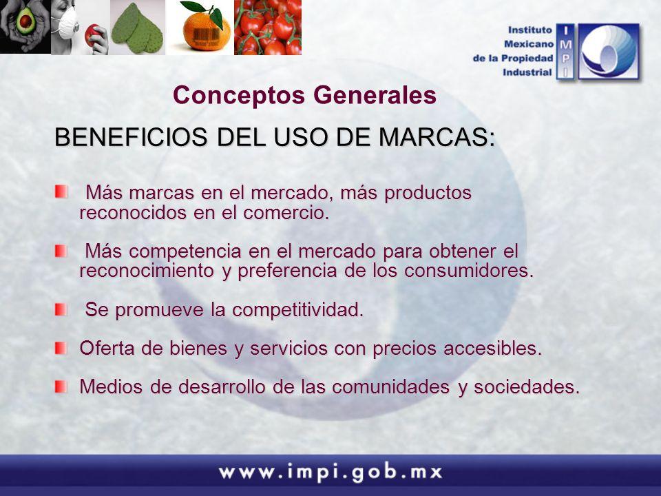 Conceptos Generales BENEFICIOS DEL USO DE MARCAS: Más marcas en el mercado, más productos reconocidos en el comercio. Más marcas en el mercado, más pr