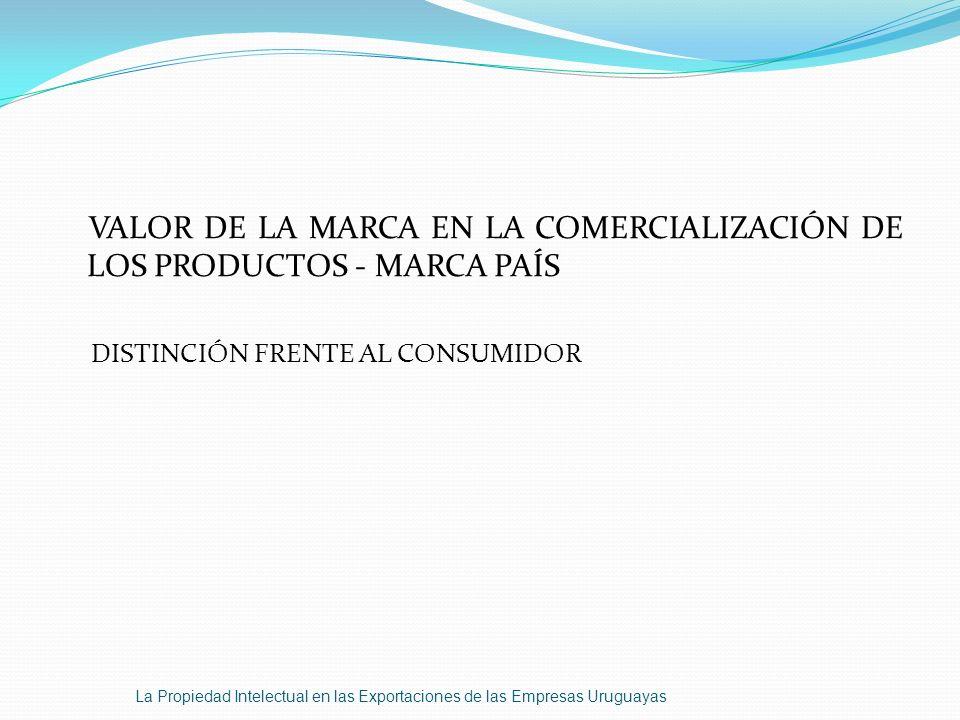 VALOR DE LA MARCA EN LA COMERCIALIZACIÓN DE LOS PRODUCTOS - MARCA PAÍS DISTINCIÓN FRENTE AL CONSUMIDOR La Propiedad Intelectual en las Exportaciones d