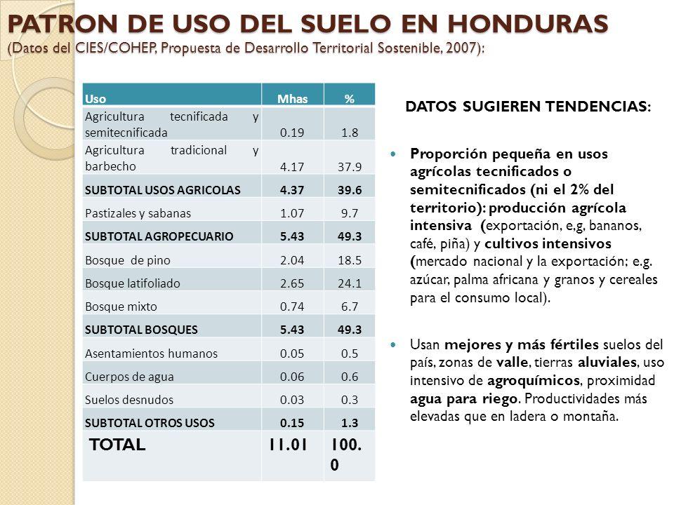 PATRON DE USO DEL SUELO EN HONDURAS (Datos del CIES/COHEP, Propuesta de Desarrollo Territorial Sostenible, 2007): UsoMhas% Agricultura tecnificada y s