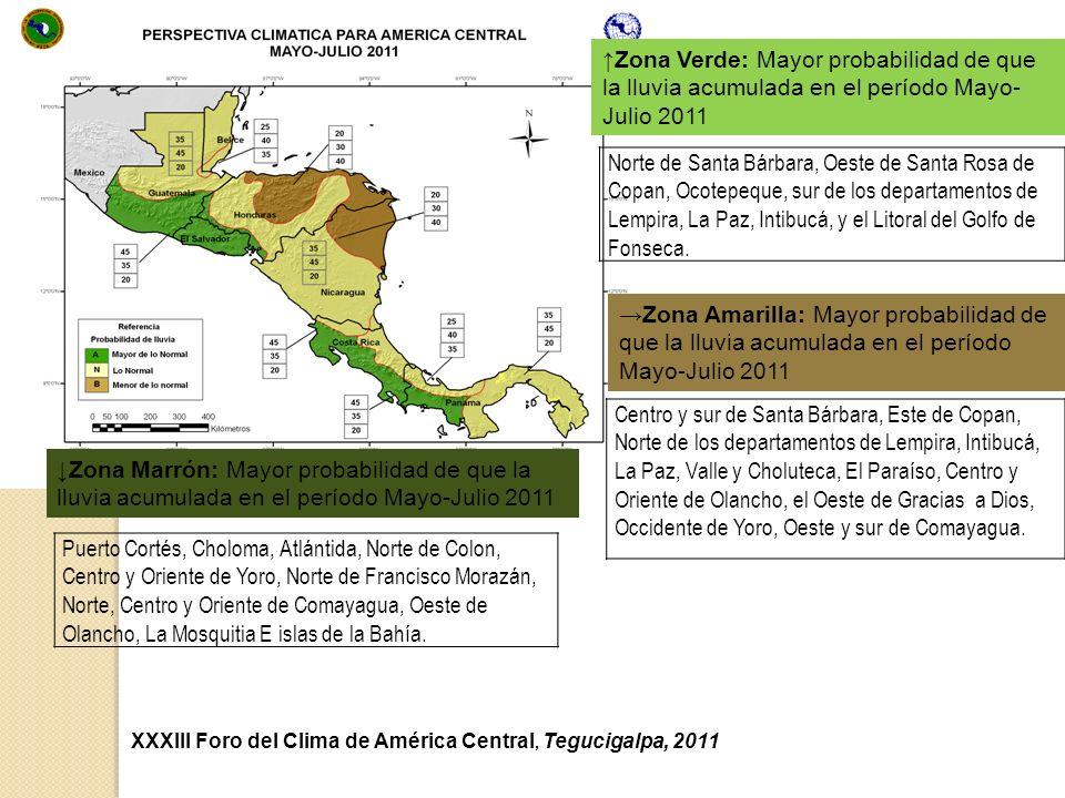 XXXIII Foro del Clima de América Central, Tegucigalpa, 2011 Zona Verde: Mayor probabilidad de que la lluvia acumulada en el período Mayo- Julio 2011 N