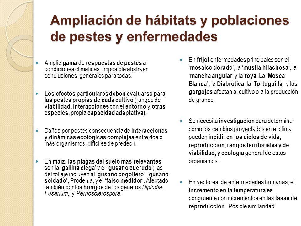Ampliación de hábitats y poblaciones de pestes y enfermedades Amplia gama de respuestas de pestes a condiciones climáticas. Imposible abstraer conclus