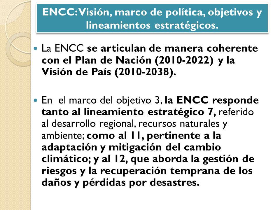 La ENCC se articulan de manera coherente con el Plan de Nación (2010-2022) y la Visión de País (2010-2038). En el marco del objetivo 3, la ENCC respon