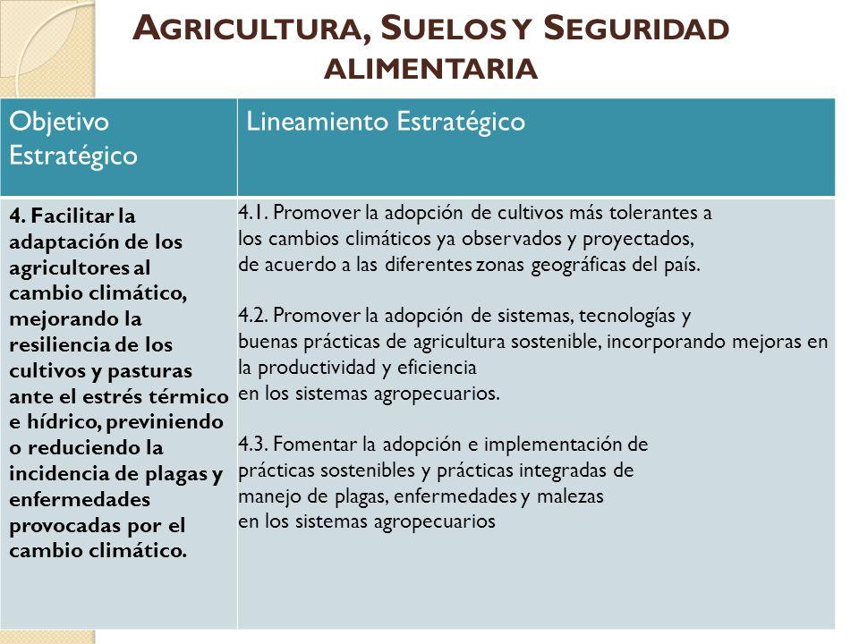 Objetivo Estratégico Lineamiento Estratégico 4. Facilitar la adaptación de los agricultores al cambio climático, mejorando la resiliencia de los culti