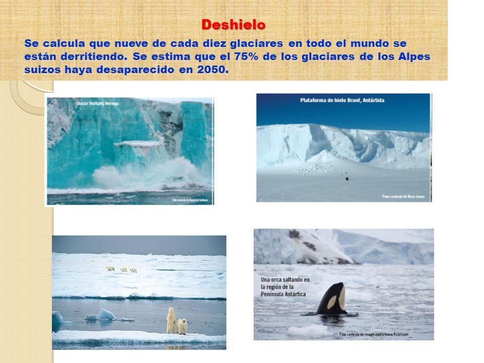Deshielo Se calcula que nueve de cada diez glaciares en todo el mundo se están derritiendo. Se estima que el 75% de los glaciares de los Alpes suizos