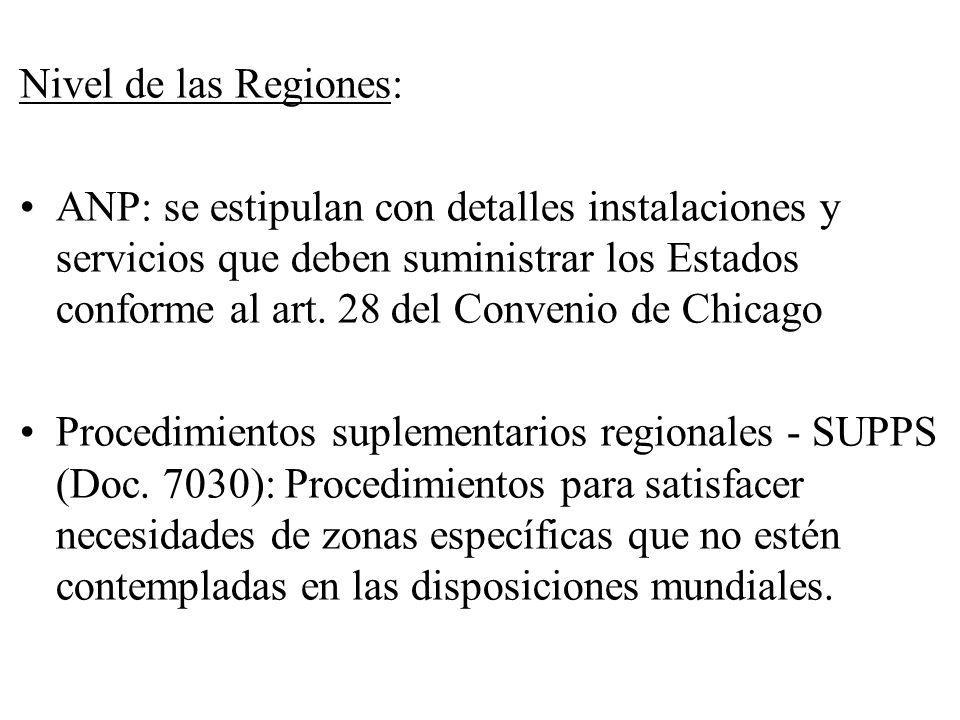 Nivel de las Regiones: ANP: se estipulan con detalles instalaciones y servicios que deben suministrar los Estados conforme al art. 28 del Convenio de