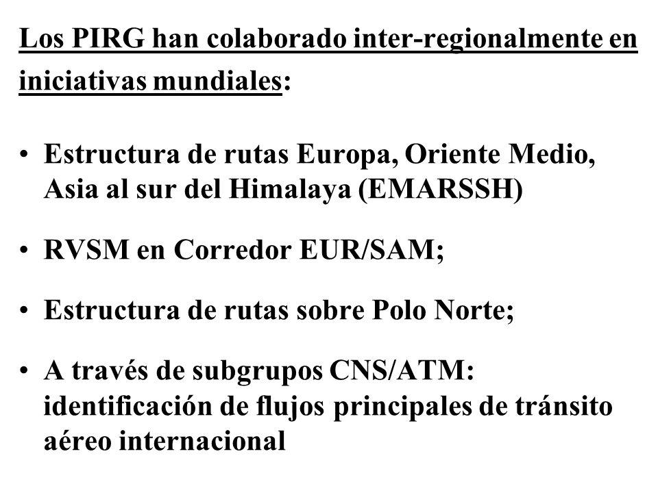 Los PIRG han colaborado inter-regionalmente en iniciativas mundiales: Estructura de rutas Europa, Oriente Medio, Asia al sur del Himalaya (EMARSSH) RV
