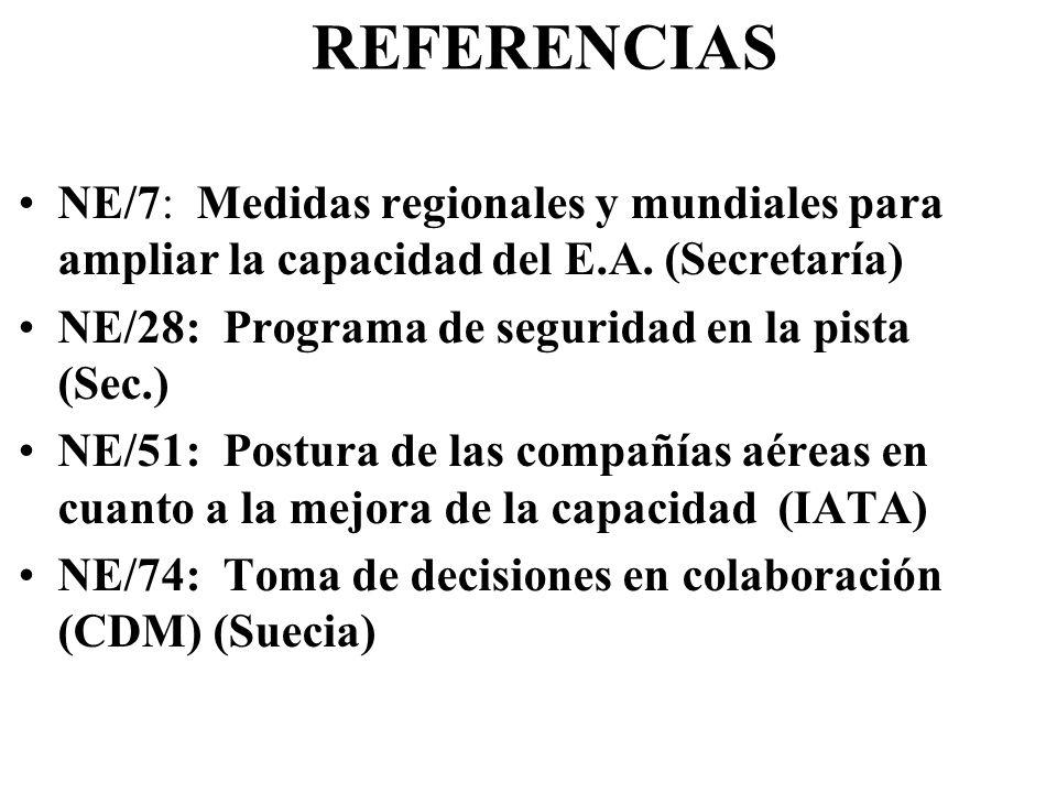 REFERENCIAS NE/7: Medidas regionales y mundiales para ampliar la capacidad del E.A. (Secretaría) NE/28: Programa de seguridad en la pista (Sec.) NE/51