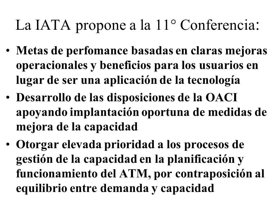 La IATA propone a la 11° Conferencia : Metas de perfomance basadas en claras mejoras operacionales y beneficios para los usuarios en lugar de ser una