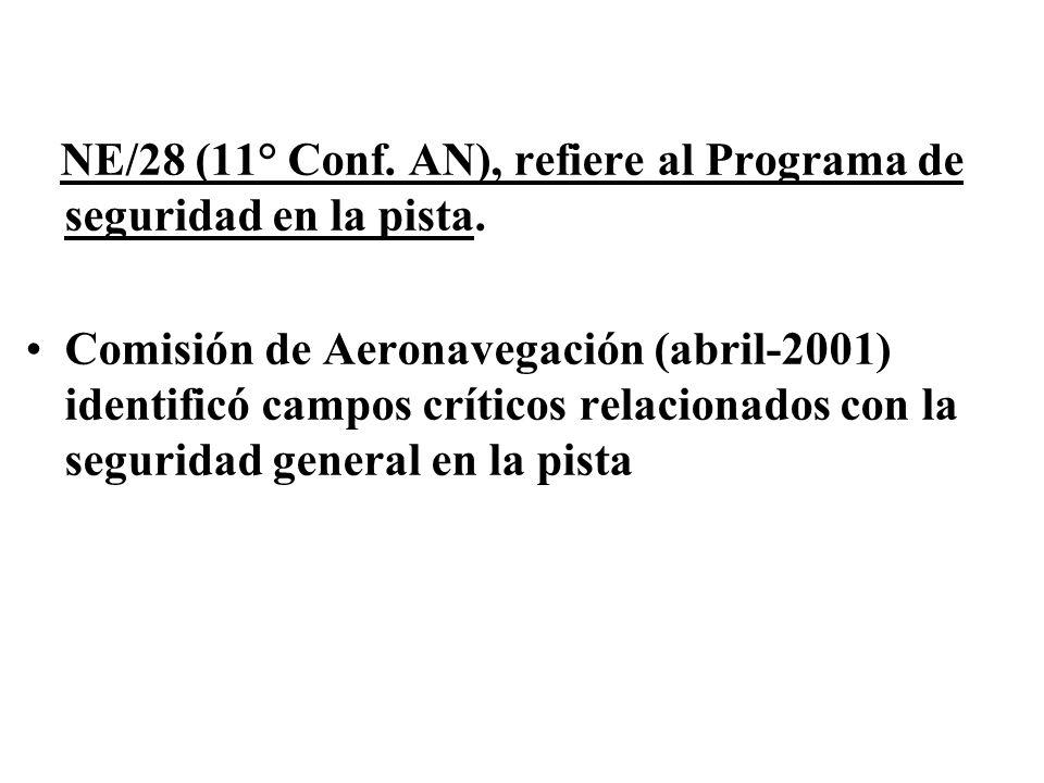 NE/28 (11° Conf. AN), refiere al Programa de seguridad en la pista. Comisión de Aeronavegación (abril-2001) identificó campos críticos relacionados co