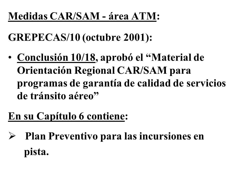 Medidas CAR/SAM - área ATM: GREPECAS/10 (octubre 2001): Conclusión 10/18, aprobó el Material de Orientación Regional CAR/SAM para programas de garantí