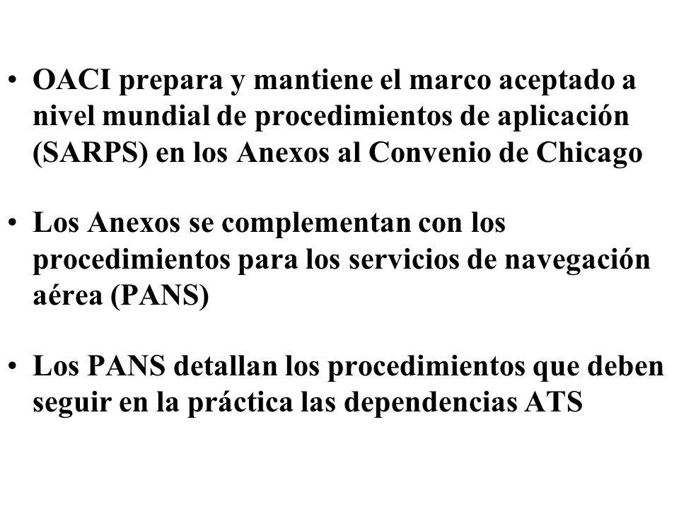 OACI prepara y mantiene el marco aceptado a nivel mundial de procedimientos de aplicación (SARPS) en los Anexos al Convenio de Chicago Los Anexos se c