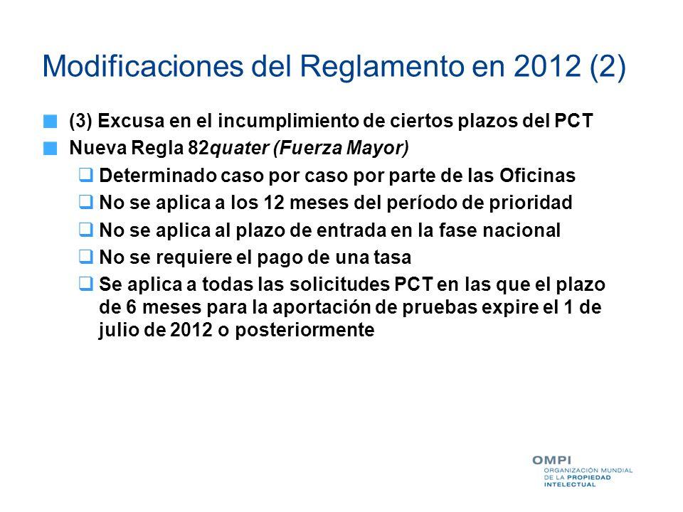 Modificaciones del Reglamento en 2012 (2) (3) Excusa en el incumplimiento de ciertos plazos del PCT Nueva Regla 82quater (Fuerza Mayor) Determinado ca