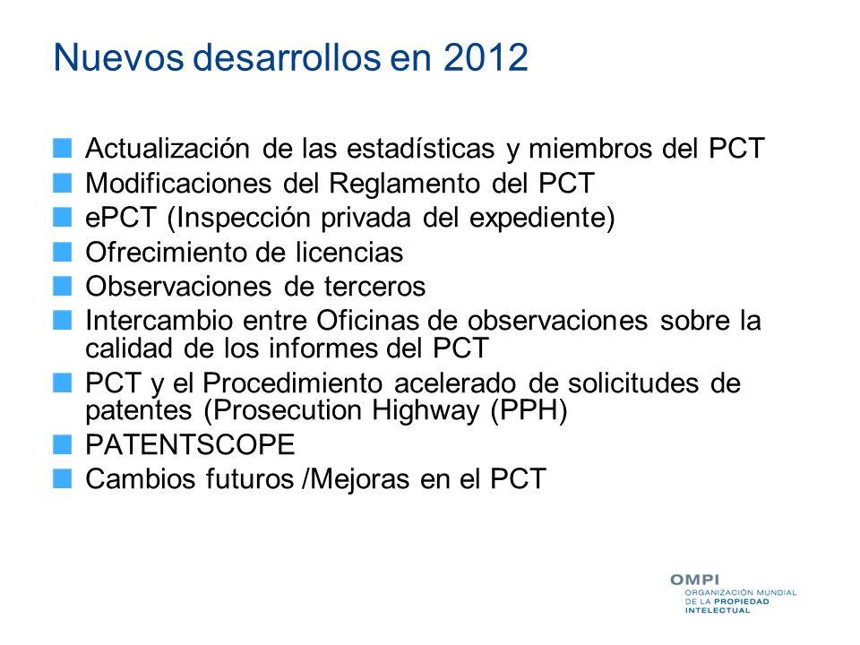 Nuevos desarrollos en 2012 Actualización de las estadísticas y miembros del PCT Modificaciones del Reglamento del PCT ePCT (Inspección privada del exp
